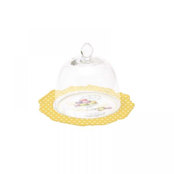 Talerz deserowy z przeszkloną kopułą Nuova R2S Patisserie żółty 1128 GOMA