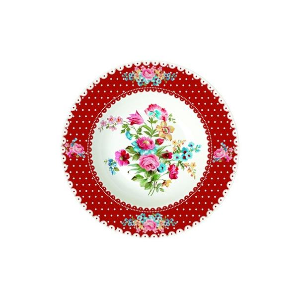 Talerz na zupę 21,5 cm Nuova R2S Jardin Secret czerwony brzeg 943 JAFR