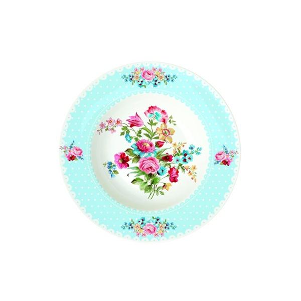 Talerz na zupę 21,5 cm Nuova R2S Jardin Secret niebieski brzeg 943 JAFB