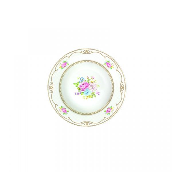 Talerz na zupę 21,5 cm Nuova R2S Vintage Bouquet biały 1151 WHIT