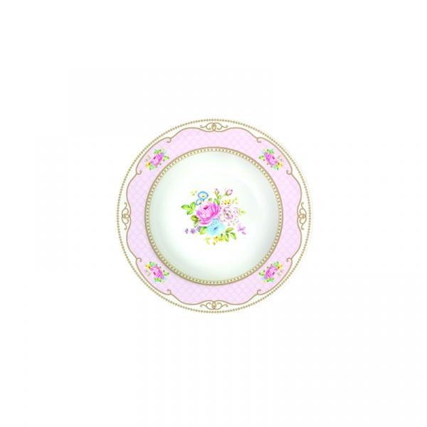 Talerz na zupę 21,5 cm Nuova R2S Vintage Bouquet różowy 1151 PINK