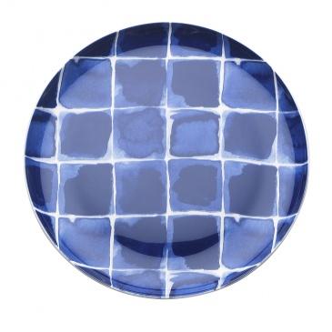 Talerz płytki w kratę 21 cm Nuova R2S Indigo niebieski