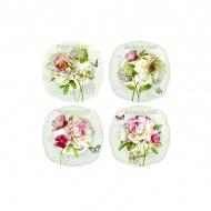 Talerze deserowe 4 szt. w prezentowym opakowaniu Nuova R2S Nostalgie kwiaty