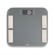 waga łazienkowa z analizą masy ciała, do 180 kg, 33 x 33 cm, szara