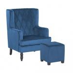 Welurowy fotel z podnóżkiem niebieski SANDSET