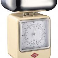 Wesco - Waga kuchenna beżowa z zegarem Wesco