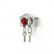 Wieszak na klucze Budka podwójna biało-czerwona 10124-WH-WH-RD