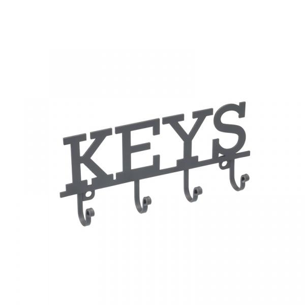 Wieszak na klucze KEYS - 4 haczyki Kitchen Craft Living Nostalgia szary LNKEYHOOK