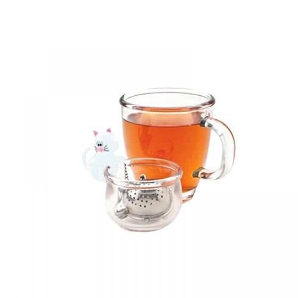 Zaparzaczka do herbaty z miseczką Kot MSC International biała MS-10065-BIA