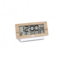 zegar cyfrowy z termometrem i kalendarzem, bambusowa rama, 12,5 x 8,5 x 4 cm