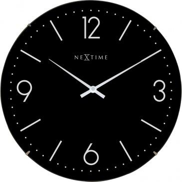 Zegar ścienny 35 cm Nextime Basic Dome czarny
