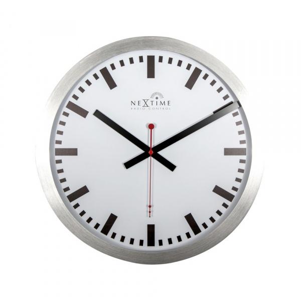 Zegar ścienny 35 cm Nextime Station RCC biały z kreskami 3999 STRC