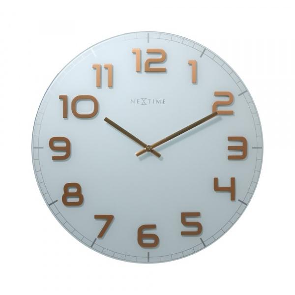 Zegar ścienny 50 cm Nextime Classy biało-miedziany 3105WC