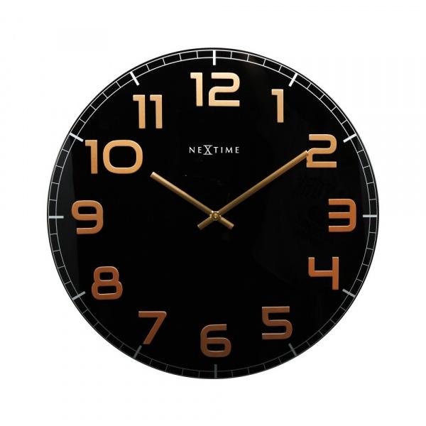 Zegar ścienny 50 cm Nextime Classy czarno-miedziany 3105BC