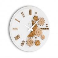 Zegar ścienny Incantesimo Design Mekkanico drewno bielone