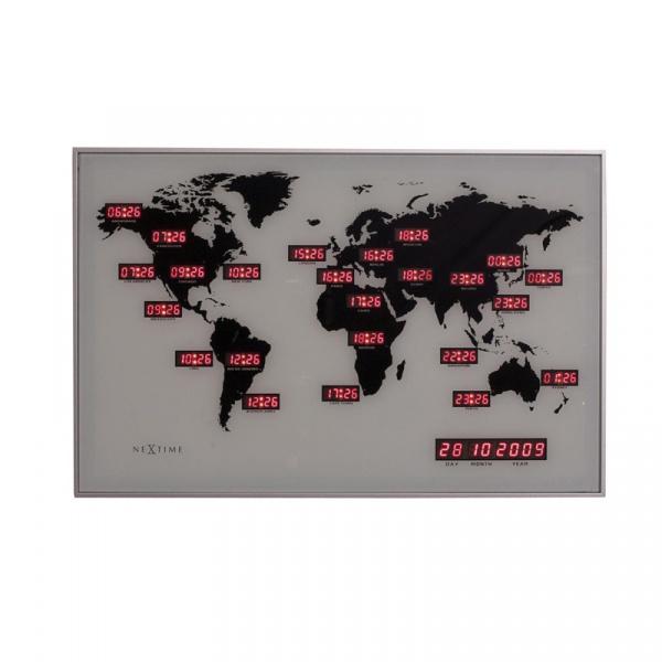 Zegar ścienny Nextime World Time Digit 2897