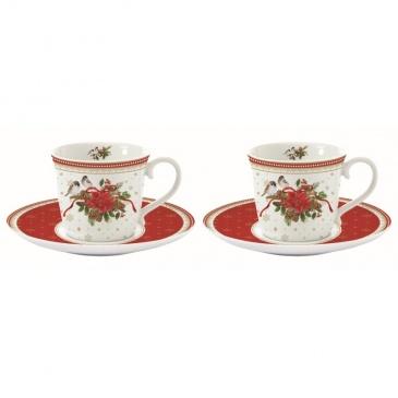 Zestaw 2 filiżanek espresso z talerzykami świąteczny Nuova R2S