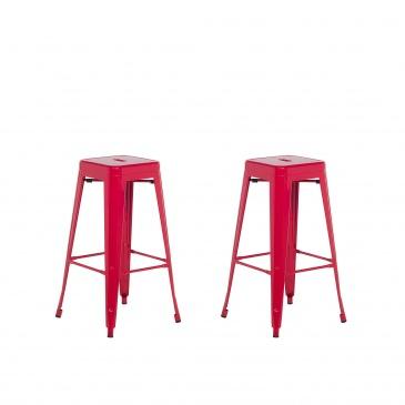 Zestaw 2 hokerów barowych czerwone wysokość 76 cm CABRILLO
