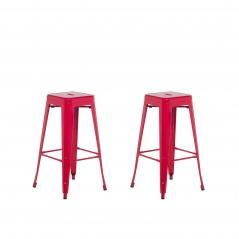 Zestaw 2 hokerów barowych czerwone wysokość 76 cm Faggio BLmeble
