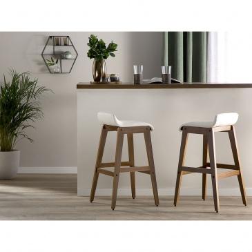 Zestaw 2 krzeseł barowych skóra ekologiczna biały CODY