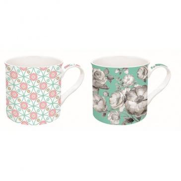 Zestaw 2 kubków z porcelany Nuova R2S Trend & Colours zielony