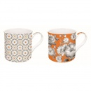 Zestaw 2 kubków z porcelany Nuova R2S Trend & Colours pomarańczowy