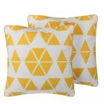 Zestaw 2 poduszek dekoracyjnych w trójkąty 45 x 45 cm żółty PANSY