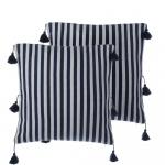Zestaw 2 poduszek dekoracyjnych z frędzlami w paski 45 x 45 cm niebieski AMARYLLIS
