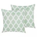 Zestaw 2 poduszek ogrodowych w romby 40 x 40 cm zielono-biały
