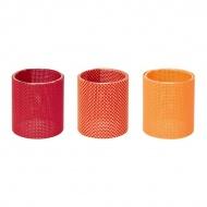 Zestaw 3-ech szklanych świeczników Contento Marah pomarańczowe