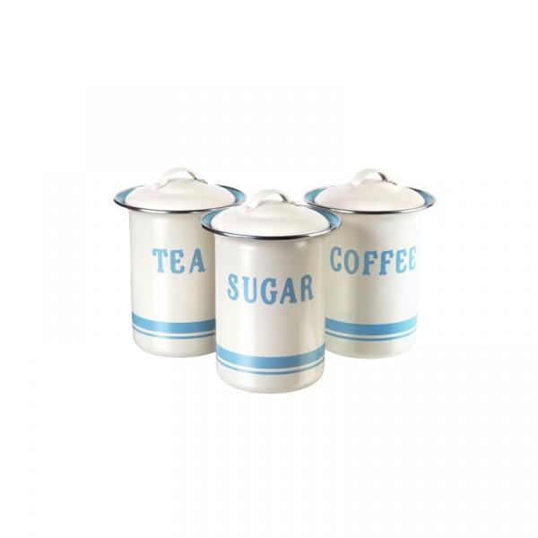 Zestaw 3 pojemników na cukier, kawę, herbatę Jamie Oliver kremowo-błękitny JB8910