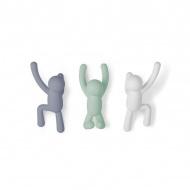 Zestaw 3 wieszaków ściennych 7,5x16,8x7,6cm Umbra Buddy pastelowy