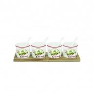 Zestaw 4 miseczek z łyżeczkami Nuova R2S Bistrot Olives