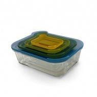 Zestaw 4szklanych pojemników Joseph Joseph Nest Glass Storage wielokolorowy/przezroczysty