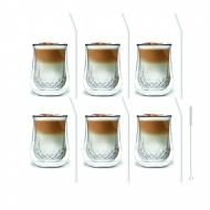 Zestaw 6 szklanek Diamante 300ml i 6 słomek szklanych 23cm białych 7077
