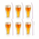 Zestaw 6 szklanek do piwa 350ml i 6 słomek szklanych 23cm różowych 7404