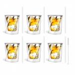 Zestaw 6 szklanek do whisky 300ml i 6 słomek szklanych 20cm białych 7367