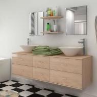 Zestaw do łazienki z umywalką, 7 elementów, beżowy