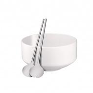 Zestaw do sałatek: miska+sztućce WMF Moto biały