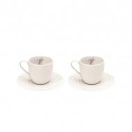 Zestaw filiżanek espresso z talerzykami 100 ml Nuova R2S La Belle Maison 2 szt. wrzosy