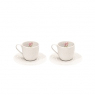 Zestaw filiżanek espresso z talerzykami 100 ml Nuova R2S La Belle Maison 2 szt. kwiaty
