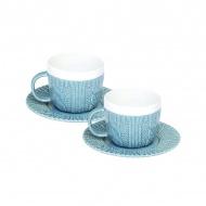 Zestaw filiżanek espresso z talerzykami 2 szt. Nuova R2S niebieski