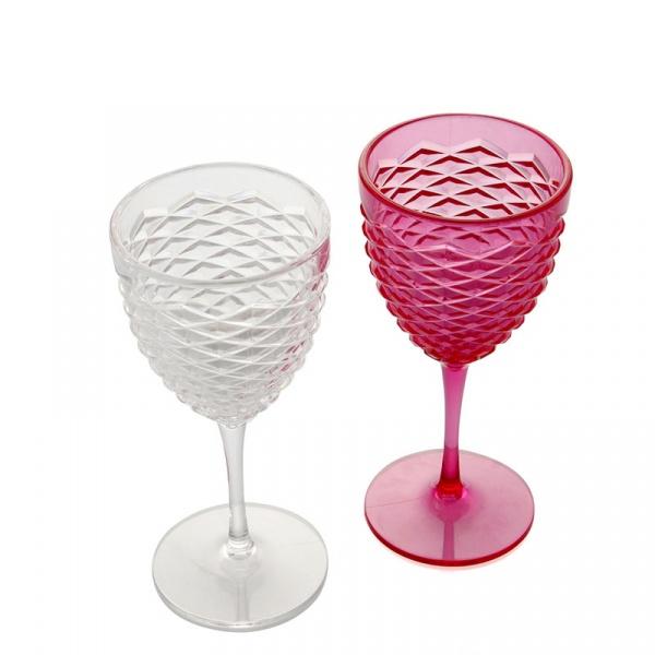 Zestaw kieliszków 2szt Pink Transparent biały i różowy 81255