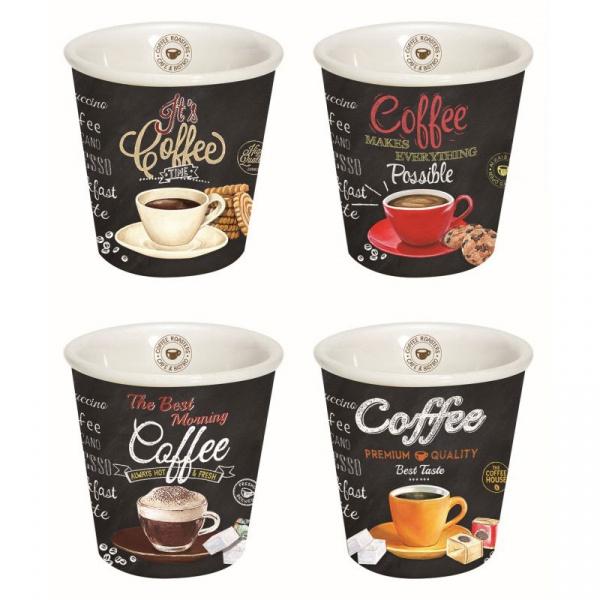 Zestaw kubków do espresso 4szt 0,08L Nuova R2S czarny 1016 ICTT