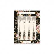 Zestaw łyżeczek z porcelanowym uchwytem 4szt Nuova R2S Blooming Opulence czarny kwiaty