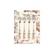 Zestaw łyżeczek z porcelanowym uchwytem 4szt Nuova R2S Blooming Opulence biały kwiaty