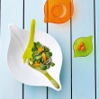 Zestaw: misa i sztućce do serwowania sałatek biało zielony Leaf XL KZ-3691100