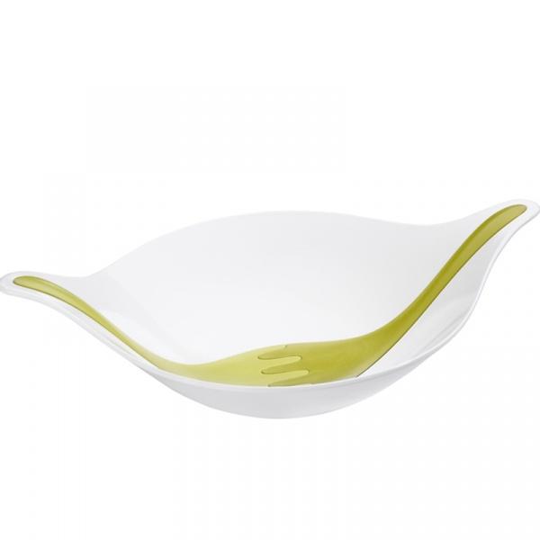 Zestaw: misa i sztućce do serwowania sałatek Koziol Leaf XL biało zielona KZ-3691100