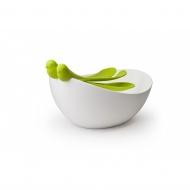 Zestaw miska z łyżkami do sałatek Sparrow biało-zielony 10098-GN