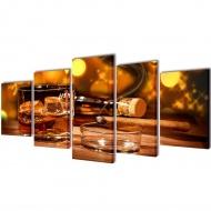 Zestaw obrazów Canvas 100 x 50 Whiskey i cygaro